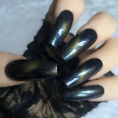 Hand Painted Coffin Extra Long False Nails Blue Yellow Gel Press On Nails