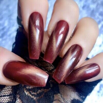 Hand Painted Coffin Extra Long False Nails Deep Red & Gold Gel Press On Nails
