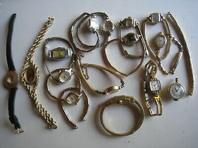 Lot of 17 womens Vintage Gold Filled Wrist Watches/band Bulova, Elgin, odd names