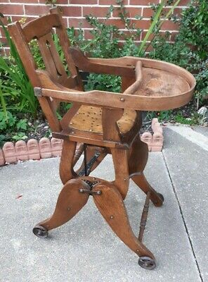 Antique Solid Oak Arts & Crafts Metamorphic Childs Chair
