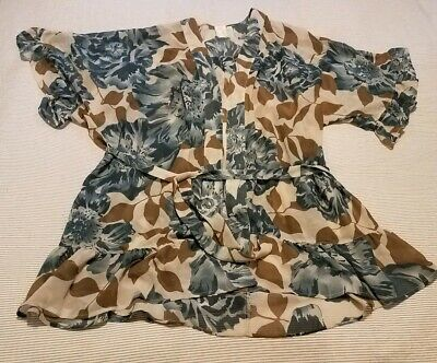 E by Eloise Anthropologie XS/Small Blue Floral Ruffle Kimono Robe Nightie Set