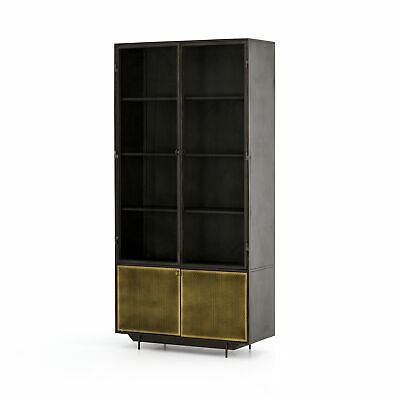 "82"" Giuseppa Cabinet Bookcase Iron Glass Perforated Brass Patina Gunmetal Tempe"
