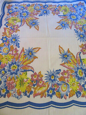 """Vtg Cotton Linen Printed Tablecloth Blue Pink Yellow Floral 50""""x42"""""""