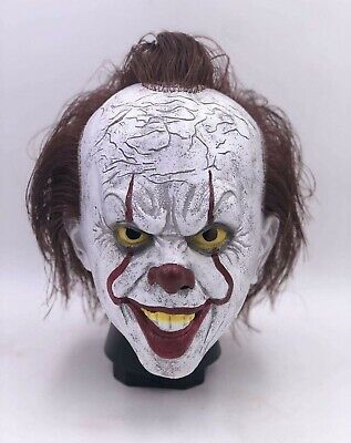 Pennywise Latex Full Mask w/Hair Horror Clown Cosplay Halloween Costume