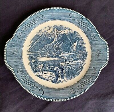 "Currier and Ives by Royal China Serving Platter ""The Rocky Mountains"" Blue"