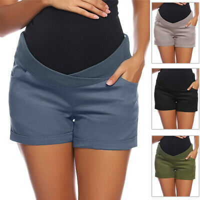 Womens Maternity Pregnant Low-Rise Shorts Elastic Waist Short Pants Hot Pants