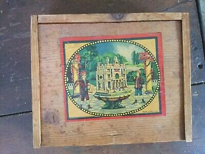 Vintage Antique Wood Germany Block Puzzle Game In Dovetail Box Stained Glass