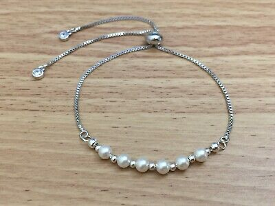 Silver Chain For Women Bolo Adjustable Bracelet - White Glass Pearl Design