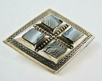 Antique Brooch Victorian Scottish Montrose Blue Lace Agate Sterling Silver - VGC