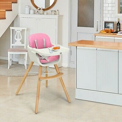 Baby Wooden High Chair Convertible Table Seats Booster Toddler Feeding Highchair