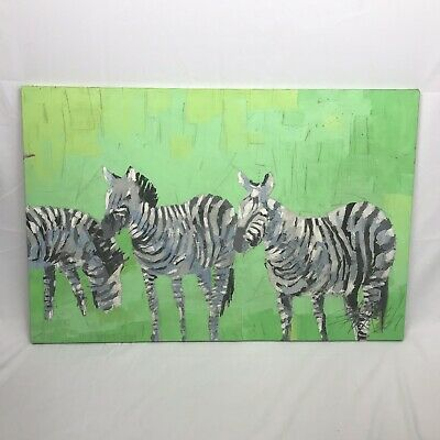 Original Oil Painting With Palette Knife By George Barrel Zebras Mid-Century