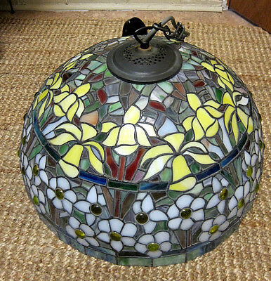 Large Leadlight Stained Glass Pendant Light (Complete) - Pick-up 2153