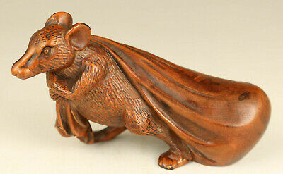 rare Chinese old boxwood hand carving fortune mouse statue figure decoration