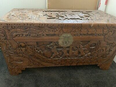 Antique original camphor chest trunk carved oriental Chinese