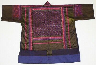 Tribal exotic chinese miao people old local cloth hand embroidery jacket costume