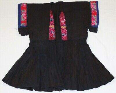 Tribal exotic chinese miao people's old local cloth hand embroidery costume