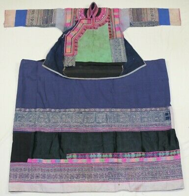 chinese minority old local cloth hand embroidery batik costume jacket skirt (set