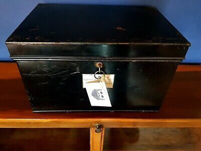 Large Vintage Metal Deed Box Storage Tin Chest complete with keys & working lock