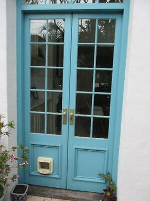 Pair Solid Outdoor Patio French Doors Wooden & Glass & Hardware Vgc Lot#2