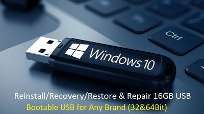 Windows10 Pro 32/64Bit Install & System Recovery Tools on USB or Disk latest!!
