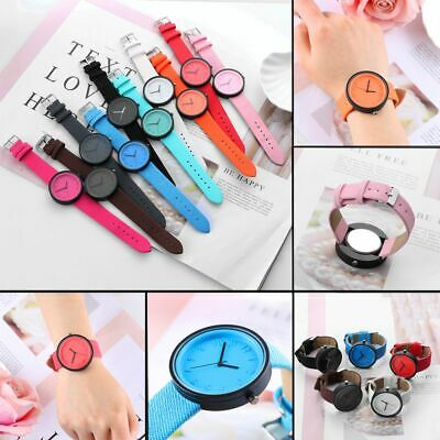 Candy Color Men Women Canvas Strap Wrist Watch PU Leather Band Analog Quartz