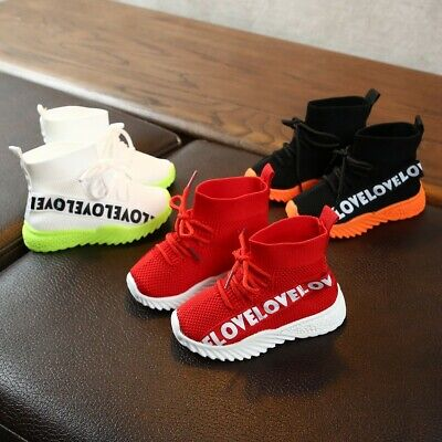 Newborn Kids Baby Girls Boys Letter Stretch Run Sneakers Sport Casual Shoes Boot