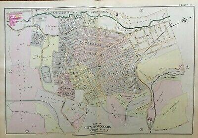 1898 Yonkers Westchester County Ny Valley Farms St Mary's Cemetery Atlas Map