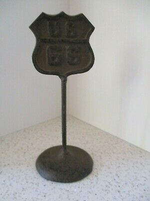 "Miniature Vintage Cast Iron ""Us 66"" Sign, Nice Desk Top Paperweight  6 3/4"" High"