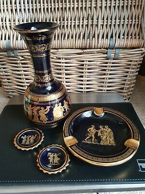 HAND MADE NEOFITOU GREEK VASE ashtray and small plates 24K GOLD COLLECTABLE