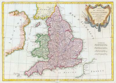 1771 Large Antique Map ENGLAND & WALES Royaume D'Angleterre by Janvier (BLM)