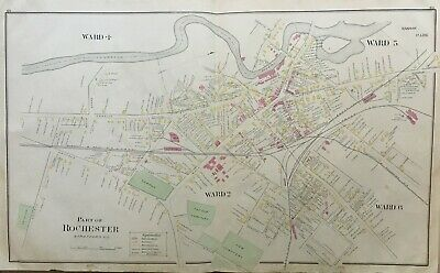 1888 Rochester New York Hanson Park Old And New Cemetery Atlas Map