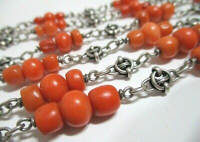 VICTORIAN Antique SALMON RED CORAL BEAD Handmade STERLING SILVER LINK NECKLACE