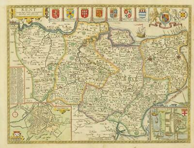 1716/1754 - Original Large Antique Map KENT by John Speed Henry Overton Edition