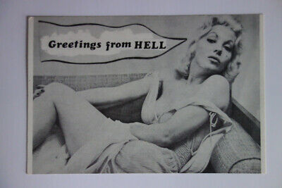 GREETINGS FROM HELL 666 Satanic Sleaze smut card 80s Vintage Postcard SHIPS FAST