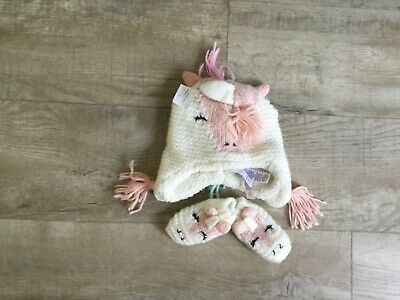 Baby Girls Unicorn  Hat and Gloves 3/6 months bnwt Marks & Spencer