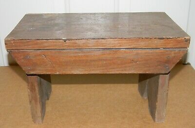 "Vtg Antique Small Foot Stool Primitive Wood 12"" Long Footstool Bench Nice Patina"