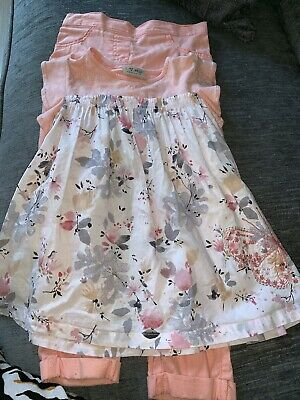 Girls Gorgeous Next Suit Outfit Peach White 100% Cotton Age 5-6 Years