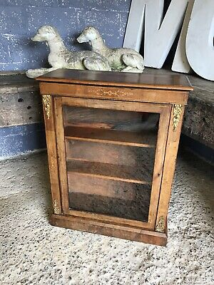Antique 19th Century Walnut Inlaid Pier Cabinet Glass Display Case Cupboard