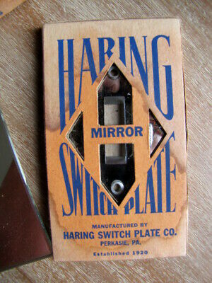 VTG NOS RETRO ART DECO GL:ASS ELECTRIC LIGHT SWITCH COVER WALL PLATE 2 Available