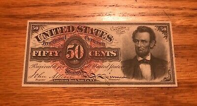 Fourth issue 50c Lincoln ,Fractional currency  , XF