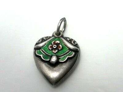 Vintage Sterling Silver Red & Green Enamel Puffy Heart Charm