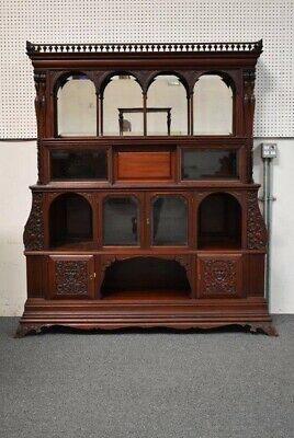 Ornately Carved Antique Victorian Etagere Cabinet