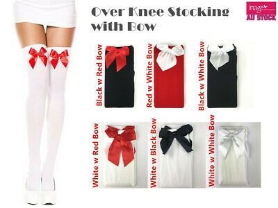 Over The Knee Stockings w Bows Ladies Socks Thigh High Fancy Dress Costume 15246
