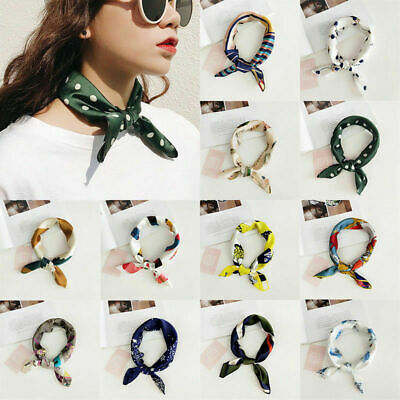 Women Vintage Elegant Square Silk Feel Satin Scarf Small Head-Neck Hair Tie Band