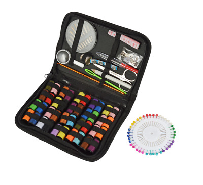 128 x Travel Home Sewing Kit Case Needle Thread Tape Scissor Button Set Portable