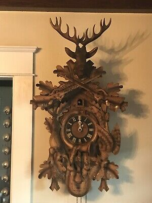 "Huge 42""antique black forest cuckoo clock hunter deer very Ornate And Detailed"