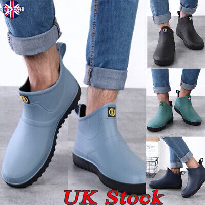 Uk Mens Waterproof Rain Boots Slip On Ankle Garden Wellies Outdoor Booties Shoes