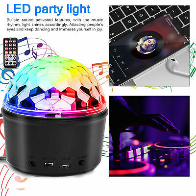 Disco Party DJ LED RGB Stage Effect Light USB Crystal Magic Ball Lamp+ Remote