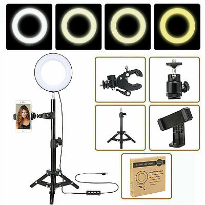 Dimmable LED Ring Selfie Ring Light Mobile Mount Folding Tripod Smartphone