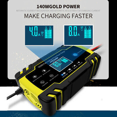 12V/24V AGM/GEL 4A/8A Intelligent Pulse Repair Battery Charger Car Motorcycle